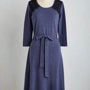ModCloth Boulevard Midi Dress 3/4 sleeves S